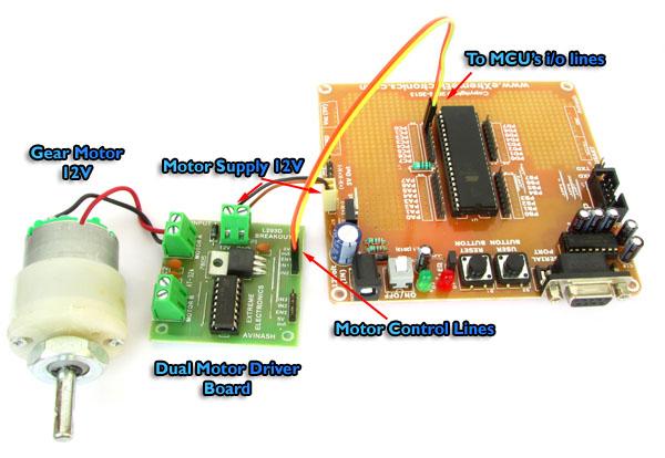 simple single motor driving using ATmega32