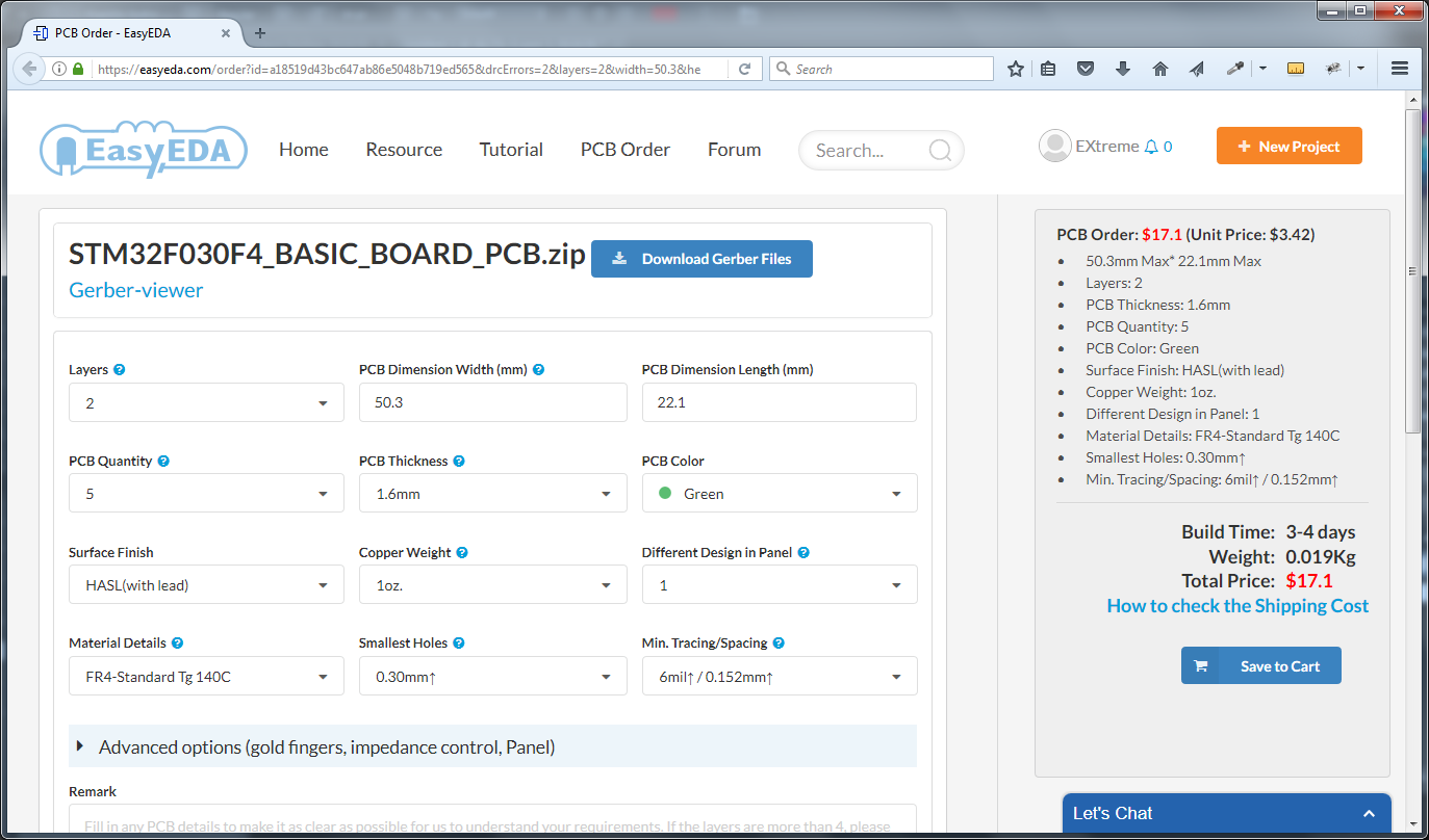 PCB order form