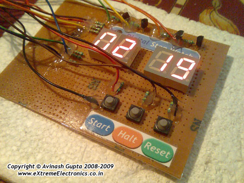 digital stop watch using avr atmega8 and seven segment displays