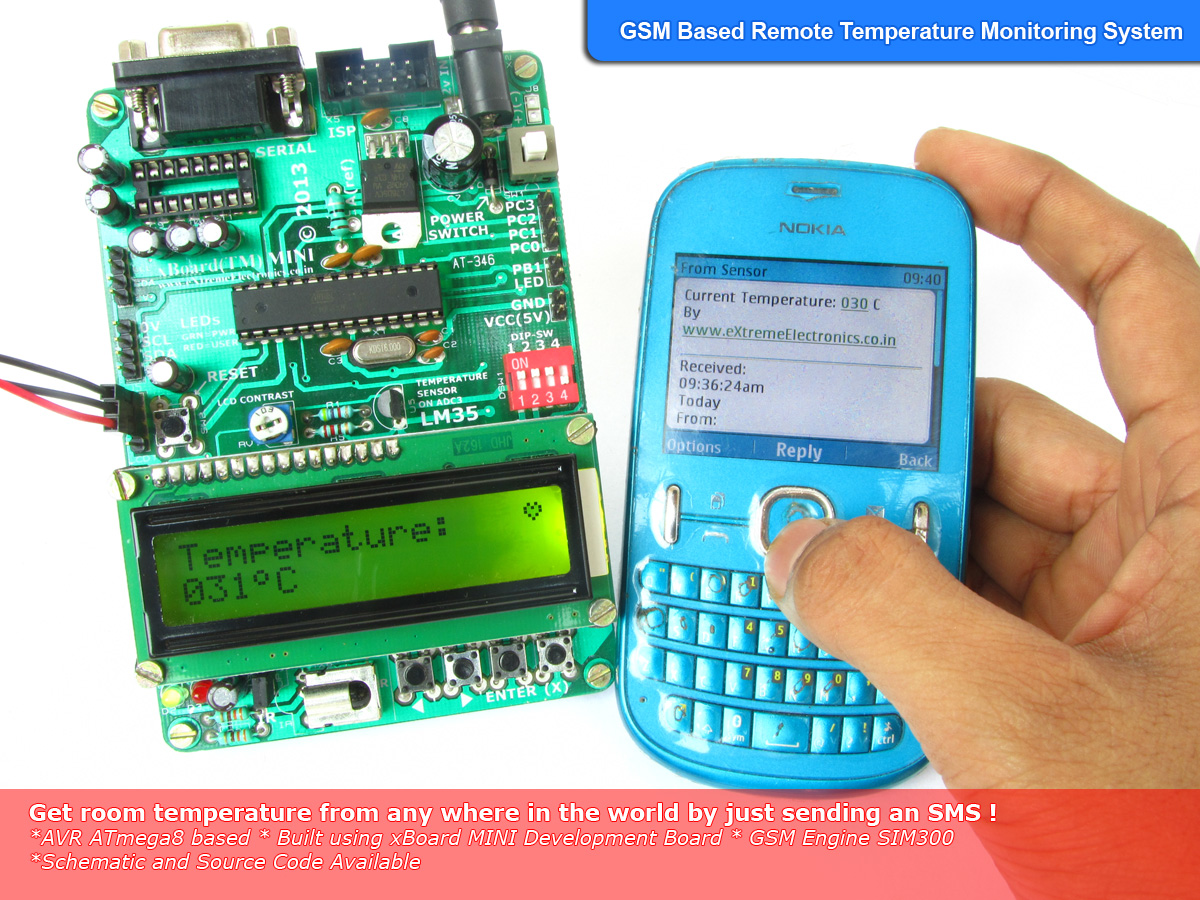Remote Temperature Monitoring Using Gsm Avr Project