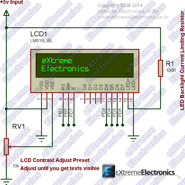 ATmega8 LCD Interface Schematic