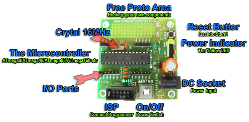 28 PIN AVR Development Board Overview
