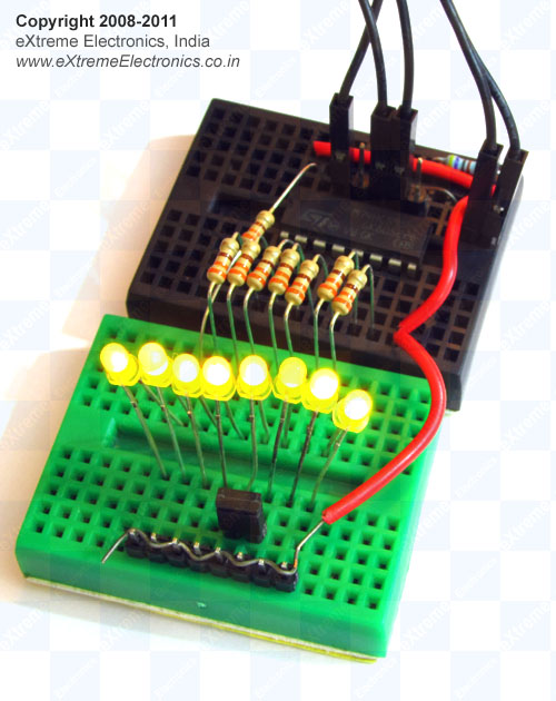 74hc595 shift register on bread board