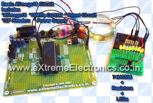 avr atmega16 with shift register