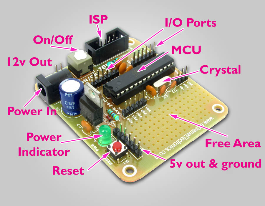 avr atmega8 development board