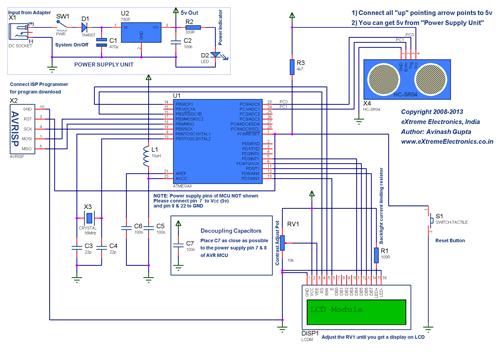 ATmega8 LCD HC-SR04 Schematic