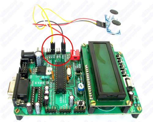 xBoard MINI interfaced with HC-SR04