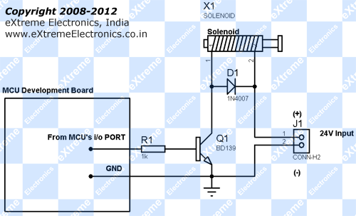 24v solenoid/relay interface with microcontroller