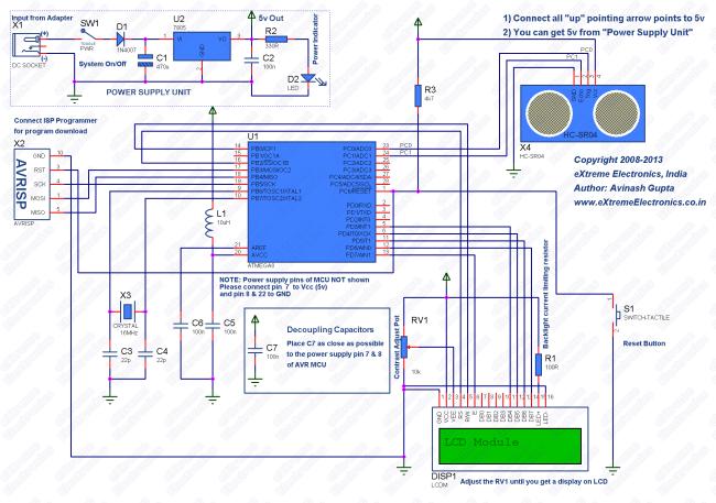 schematic hc-sr04 atmega8