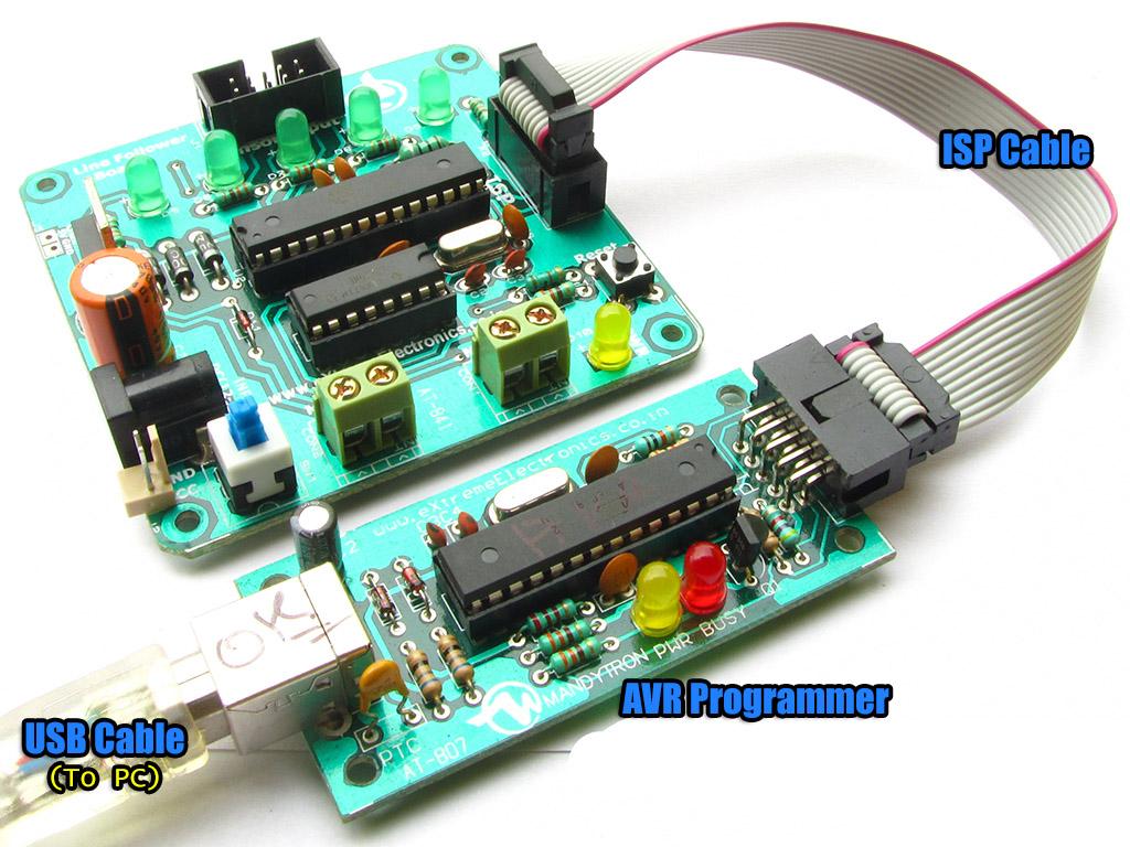 Avr Atmega8 Based Lfr Programming Atmel Usb Programmer Circuit Zif Socket Usbasp Prog Board