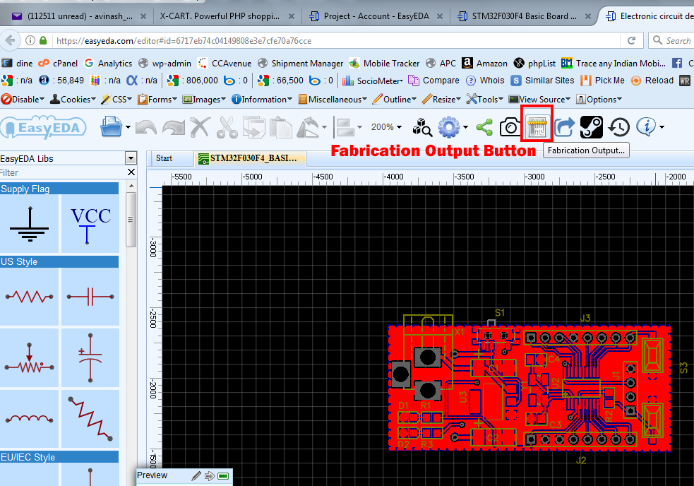 fabrication output button