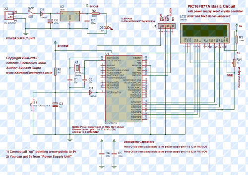 schematic of pic16f877a interfaced with LCD module