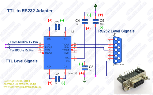 Schematic for TTL to RS232 Level Converter